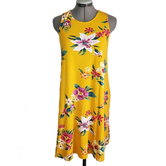 Old Navy Dresses & Skirts - SOLD: Old Navy floral mustard swing dress